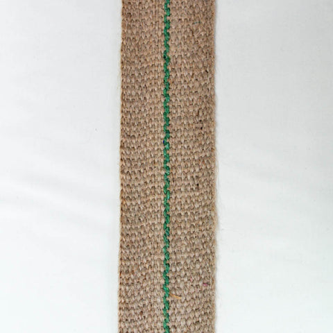 Natural Jute Cotton Webbing with a Green Stripe