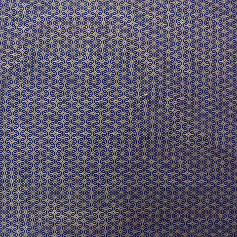 Purple Patchwork and Quilting Cotton - Geometric Golden Metallic Star