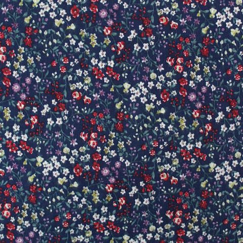 Navy Brushed Cotton - Floral - Winter Meadow