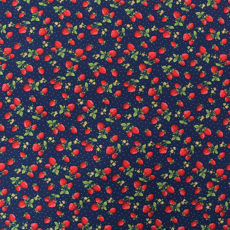 Navy Printed Cotton - Strawberry Picking