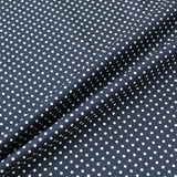 Printed Polka Dot Cotton - Navy with White Spots