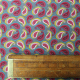 Needlecord Cotton Navy - Rhubarb and Custard Paisley