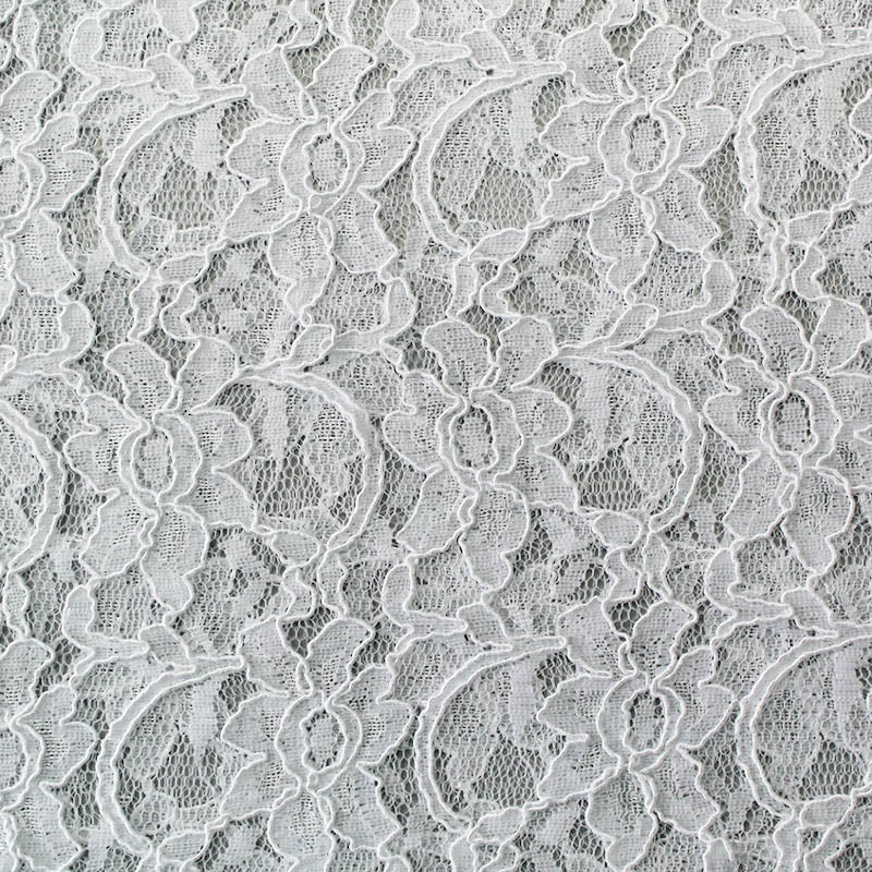Nylon Corded Lace: Bright White