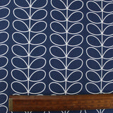 Orla Kiely Home Furnishing Fabric Linear Stem - Deep Navy Blue