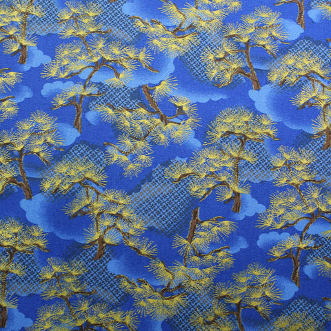 Cotton Quilting Fabric - Metallic and Blue - Mother Willow