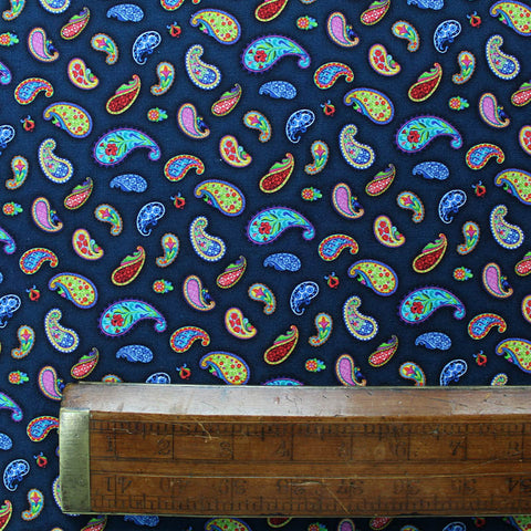 Patchwork and Quilting Cotton - Navy Blue  - Dancing Paisley