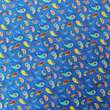 Dressmaking Cotton Fabric - Royal Blue  - Dancing Paisley