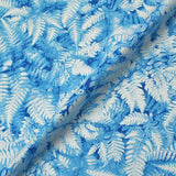 Blue Pearlised Christmas Cotton -  Frosted Leaves - Turquoise