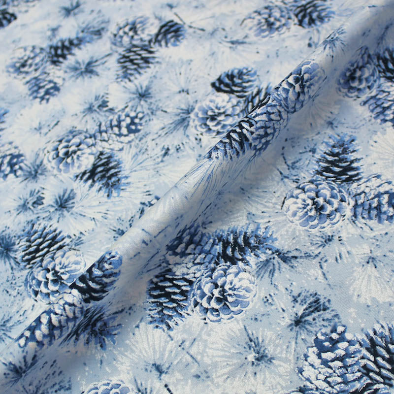 Blue Pearlised Christmas Cotton - Metallic Pine Cones - Pale Blue