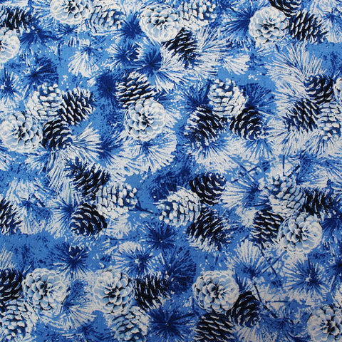 Blue Pearlised Christmas Cotton - Metallic Pine Cones - Royal Blue