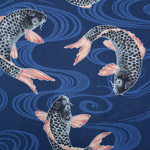 Printed Animal Cotton - Japanese Indigo Blue Carpe