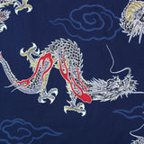 Printed Animal Cotton - Japanese Indigo Blue Dragon