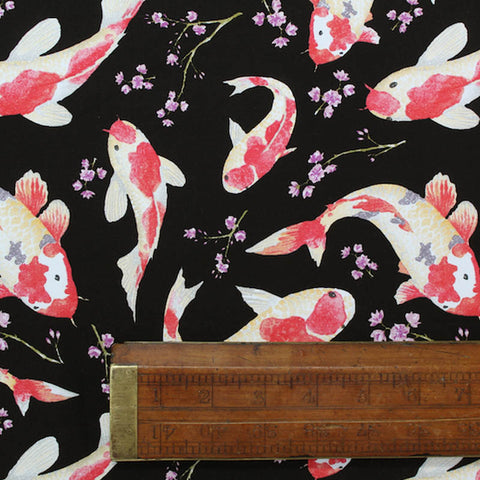 Printed Animal Cotton - Peaceful Pond - Black