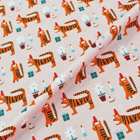 Printed Animal Cotton - Tea, Tiger?