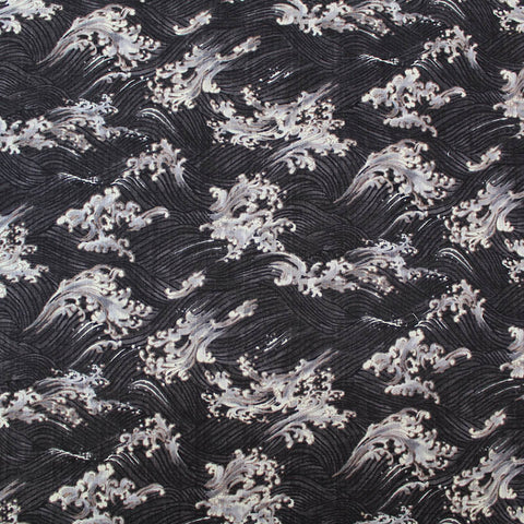 Japanese Cotton Bark Cloth - Big Crashing Wave - Black