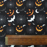 Printed Black Halloween Cotton - Spooky, Huh?