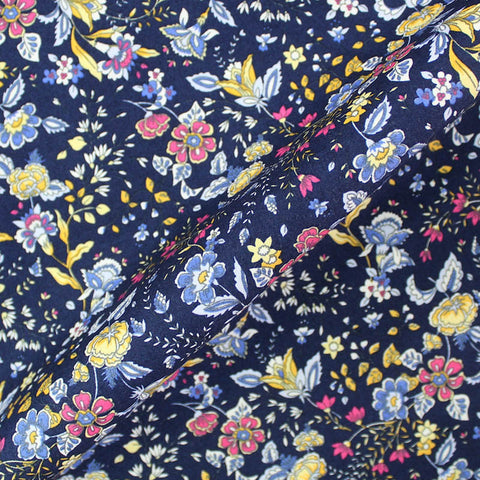 Printed Blue Floral Cotton - Bohemian Flowers