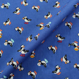 Blue Printed Cotton - Puffin' Around