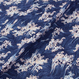 Japanese Cotton Bark Cloth - Big Crashing Wave - Blue