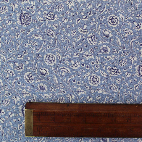 Printed Pale Blue Floral Cotton - Diana