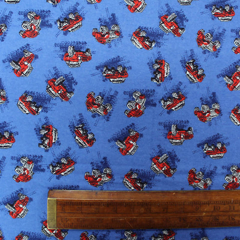 Brushed Cotton Flannel - Big Wheels - Blue