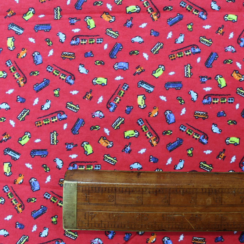 Brushed Cotton Flannel - Cars, Vans and Trains - Red