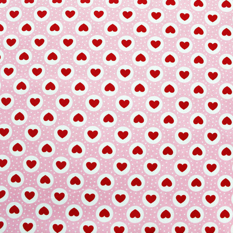 Printed Cotton Poplin - Bakewell Hearts - Red/Pink