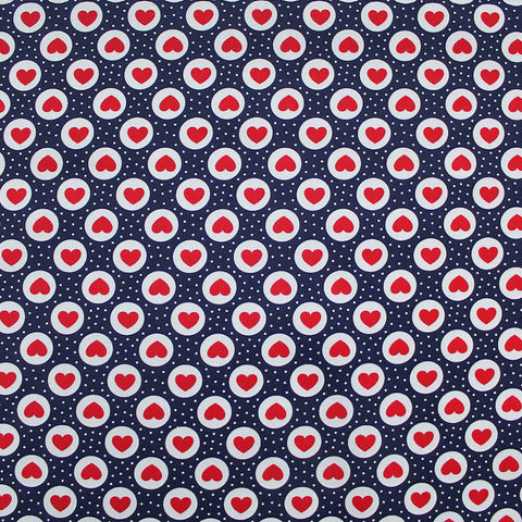 Printed Cotton Poplin- Bakewell Hearts - Navy/Red