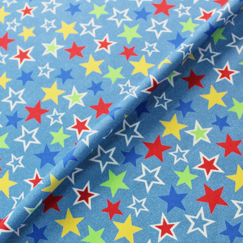 Printed Blue Cotton - All Stars