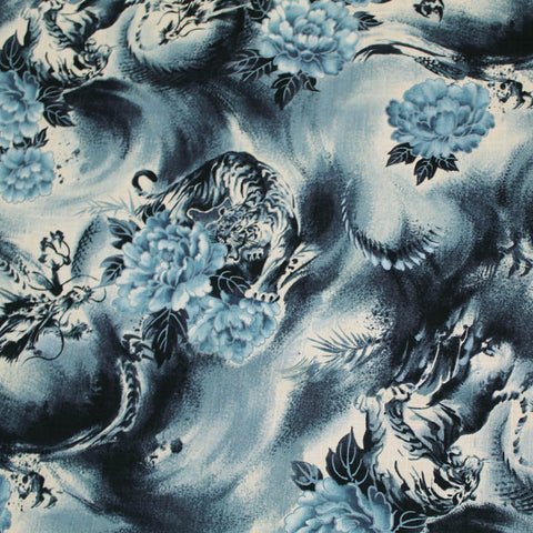 Japanese Cotton Bark Cloth - Chasing the Dragon - Blue