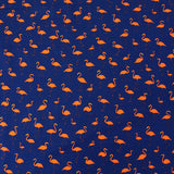 Printed Cotton - Flamingo Party - Orange/Navy