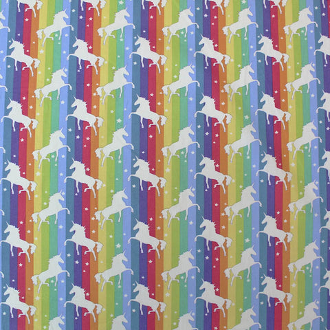 Novelty Printed Cotton - Majestic Unicorn on a Rainbow