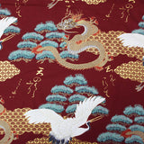 Printed Cotton; The Tale of the Golden Dragon and the Crane - Burgundy