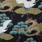 Printed Cotton; The Tale of the Golden Dragon and the Crane - Black