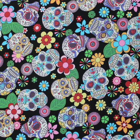Printed Cotton Black Sugar Skulls Print - Spectre