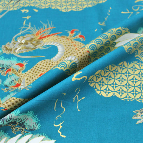 Printed Cotton; The Tale of the Golden Dragon and the Crane