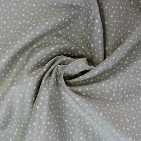 Printed Cotton Grey/Greeny Nude - White Stars