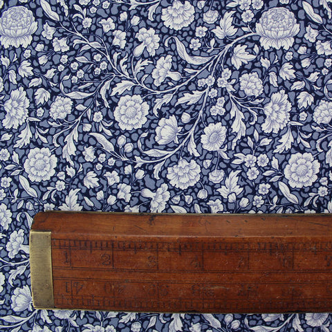 Printed Navy Blue Floral Cotton - Diana
