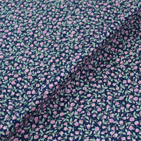 Printed Cotton Navy Blue Pretty Pink Buds