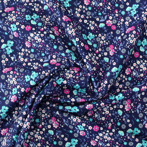 Printed Cotton - Navy, Pink and Aqua Flower Power