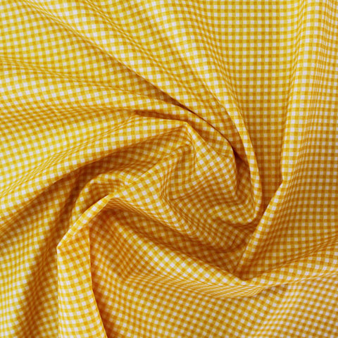 Printed Cotton Bright Yellow Gingham - Cowardly Lion