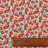 Printed Red and White Floral Cotton - Albert and Bertie