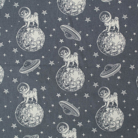 Printed Cotton Dogs in Space - Grey