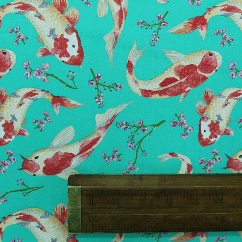 Printed Animal Cotton - Peaceful Pond - Jade Green