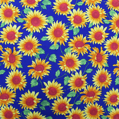 Printed Floral Cotton - Happy Sunflowers - Cobalt Blue