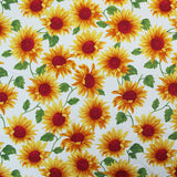 Printed Floral Cotton - Happy Sunflowers - White