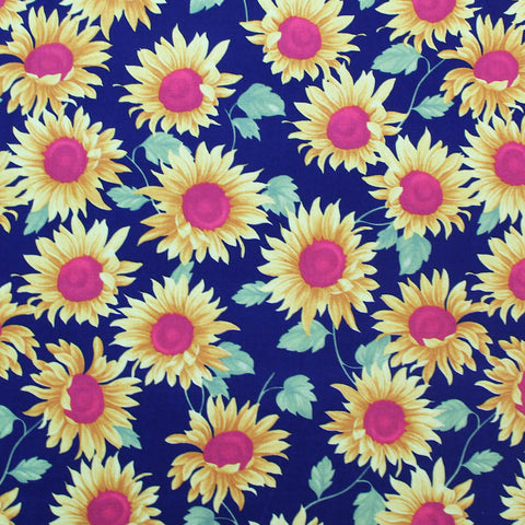 Printed Floral Cotton - Happy Sunflowers - Navy Blue