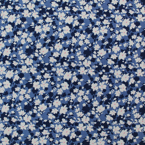 Printed Floral Cotton - Navy and Pink Flower Fields