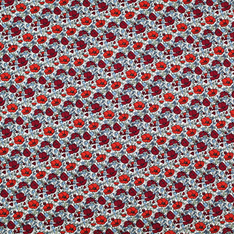 Printed Red and Blue Floral Cotton - Petunia and Bob