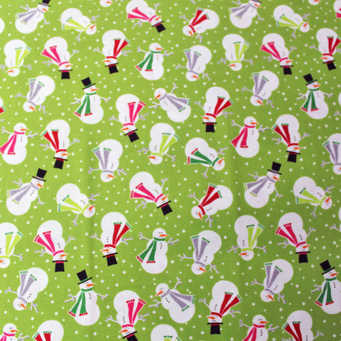 Christmas Cotton Green Printed  - Jolly Snowman